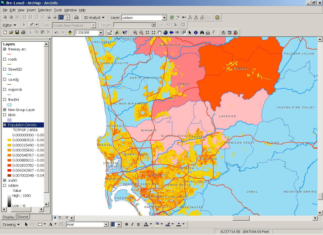 click map for larger version. san diego wildfires   static maps