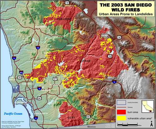 San Diego Wildfires 2003   Static Maps