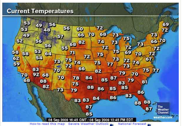 Current Us Temp Map | MAP of US