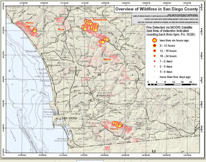 Evacuation Updates Maps And Info San Diego Wildfire 2007