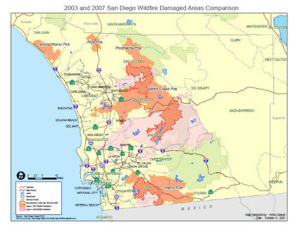 Internet Mapping Services For San Diego Wildfire By - Cedar fire map
