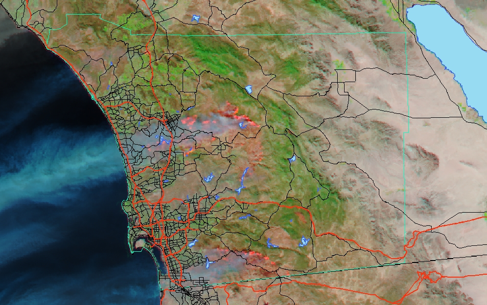 New Satellite Images For San Diego Wildfire 2007