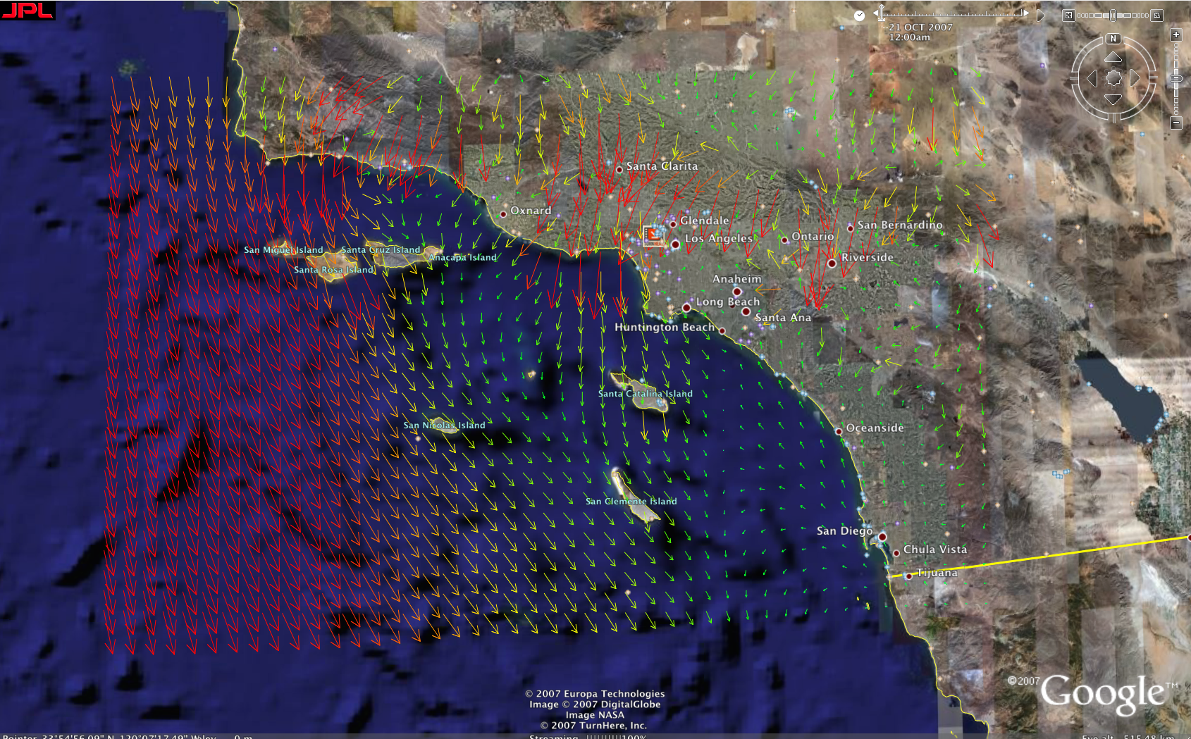 san diego wind map 3d Visualization Maps For San Diego Wildfire 2007