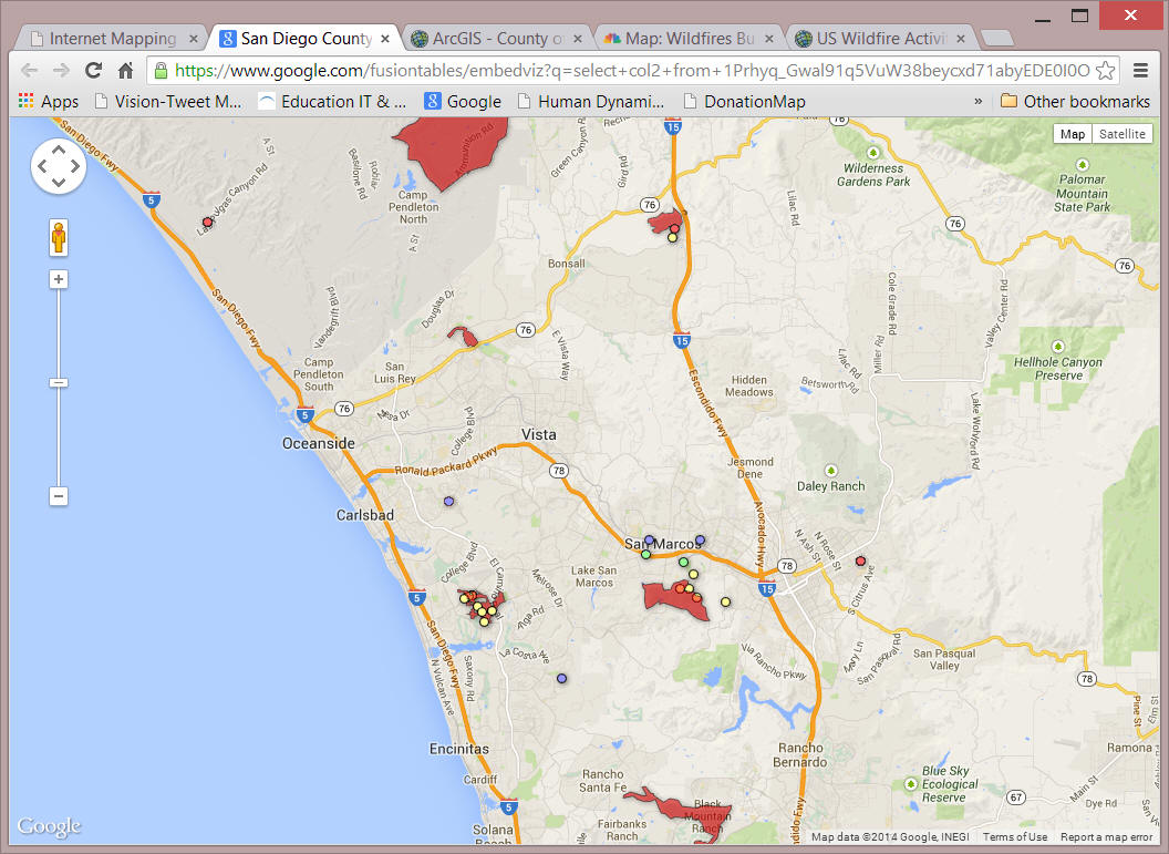 Internet Mapping Services For San Diego Wildfire 2007 By Department
