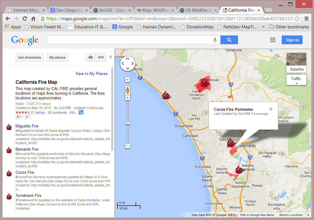 Internet Mapping Services For San Diego Wildfire  By CA OES - Florida map of fires