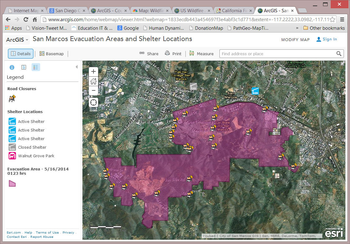 Internet Mapping Services For San Diego Wildfire 2007 By Department - Us-wildfire-activity-map